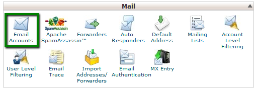 1. Log in to your cPanel > section Mail >menu Email Accounts